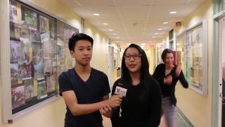Dance Dare: Teachers dancing behind students